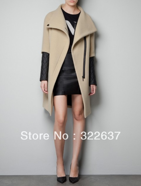 Female Camel Wool Coat Lapel Pu Leather Quilted Stitching Long Sleeve Wool Women Coat Zipper Placket-in Leather & Suede from Apparel & Accessories on Aliexpress.com