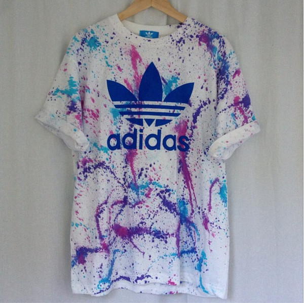 shirt adidas t-shirt top painting painting dye paint splash multicolor
