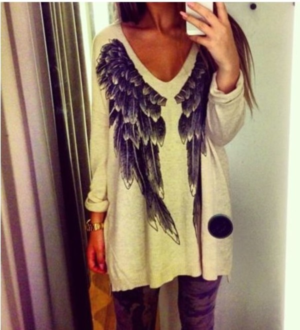 sweater white angel wings wings blouse t-shirt angel cool cardigan beige withchic