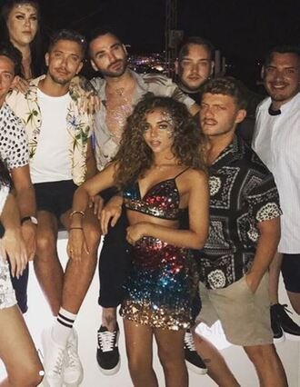 skirt top sequins sequin skirt two-piece jade thirlwall instagram summer outfits