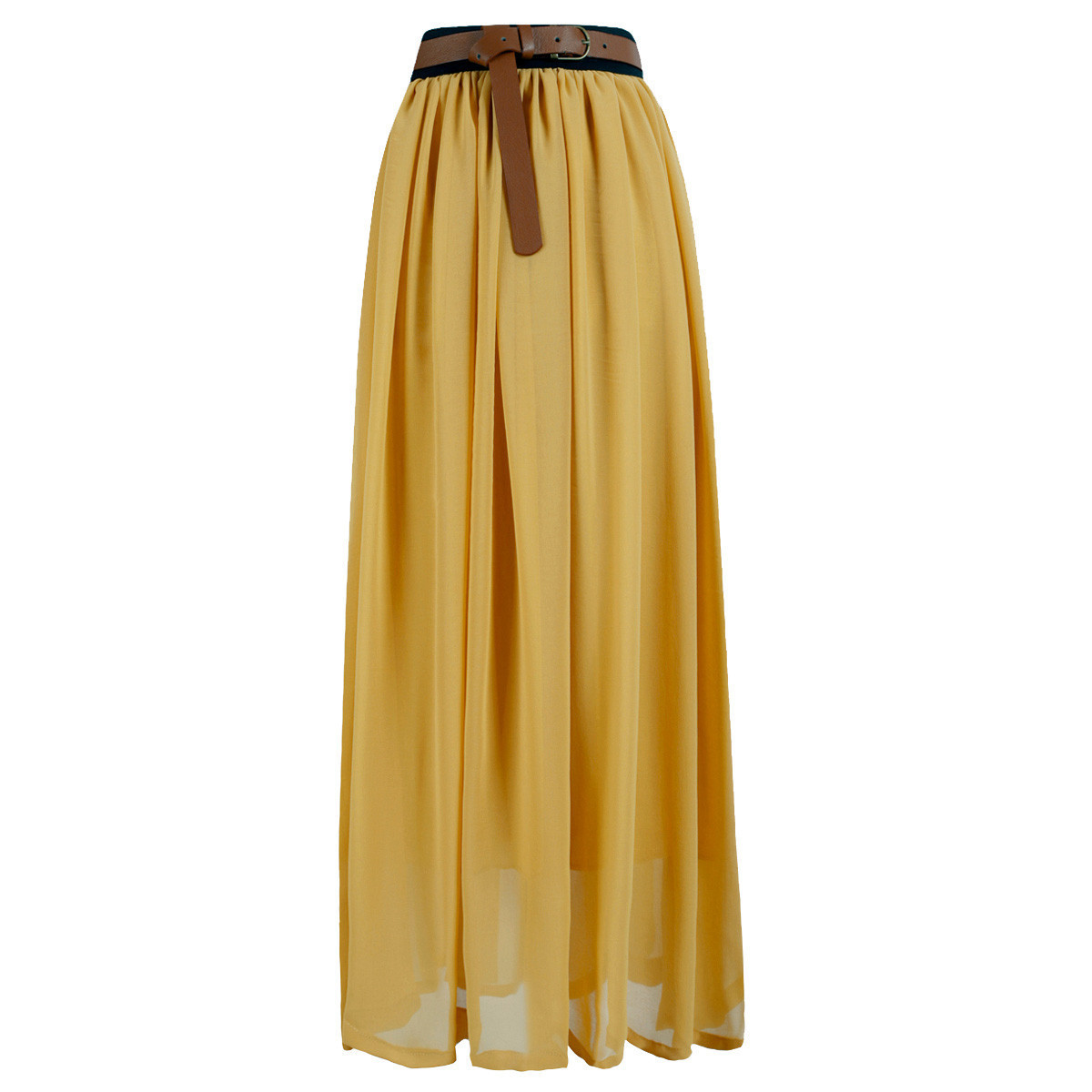 Hot Women Double Layer Chiffon Pleated Retro Long Maxi Dress Elastic Waist Skirt | eBay