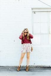 pearls&twirl,blogger,sweater,shorts,shoes,sunglasses,ankle boots,red sweater,fall outfits