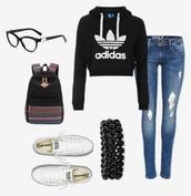 shirt,sweatshirt,crop tops,black,adidas
