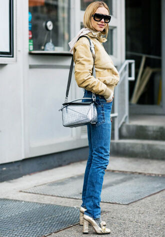 jacket tumblr nude jacket cropped jacket sunglasses black sunglasses streetstyle denim jeans blue jeans socks metallic metallic shoes high heels gold heels gold shoes high heel loafers pilgrim shoes gucci gucci shoes bag silver loewe bag fall outfits