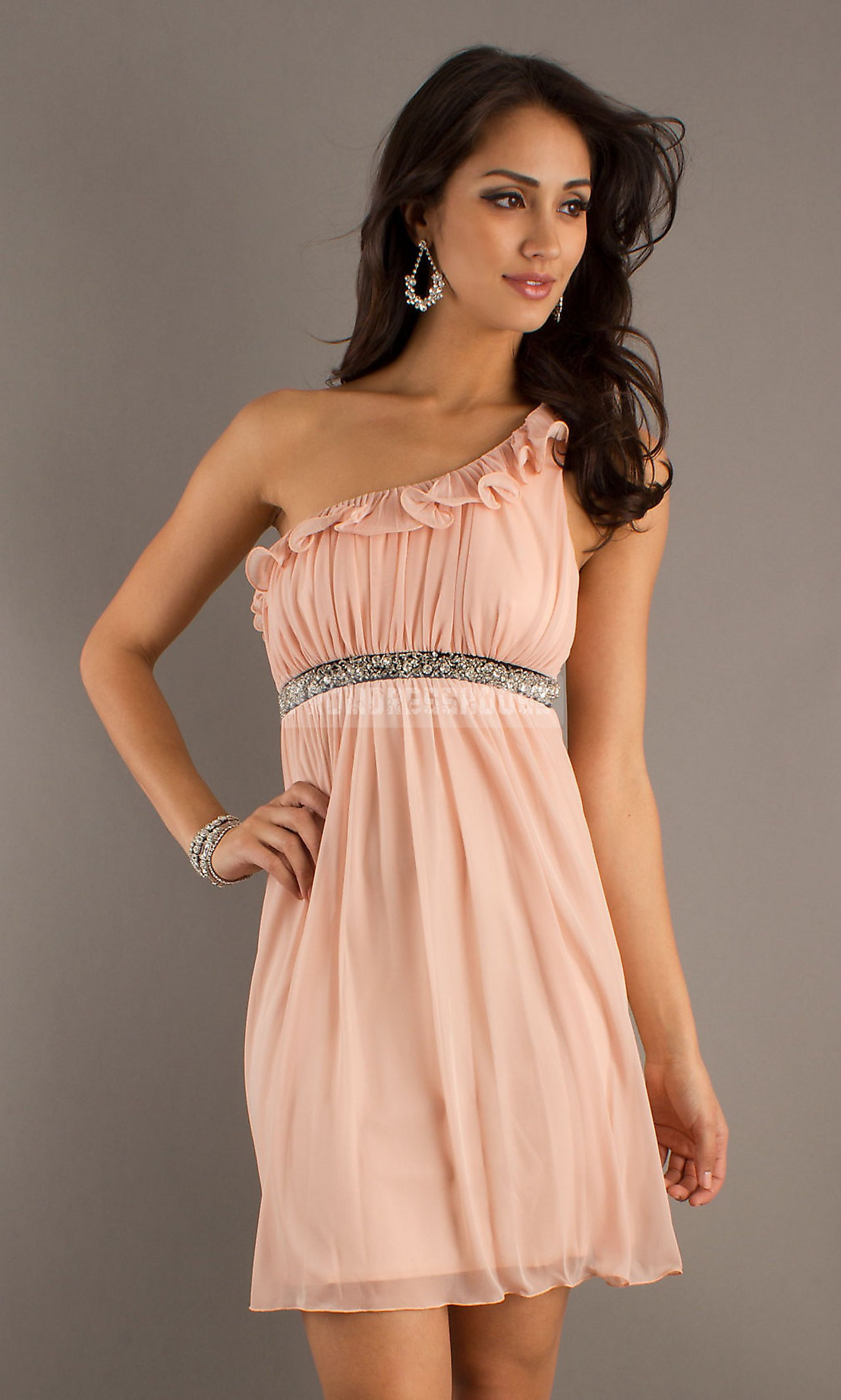 A-line Short Length One Shoulder Chiffon Ruffles Pink Prom Dress - Promdresshouse.com