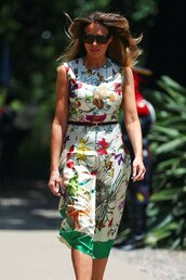 dress,floral,floral dress,midi dress,melania trump,first lady outfits