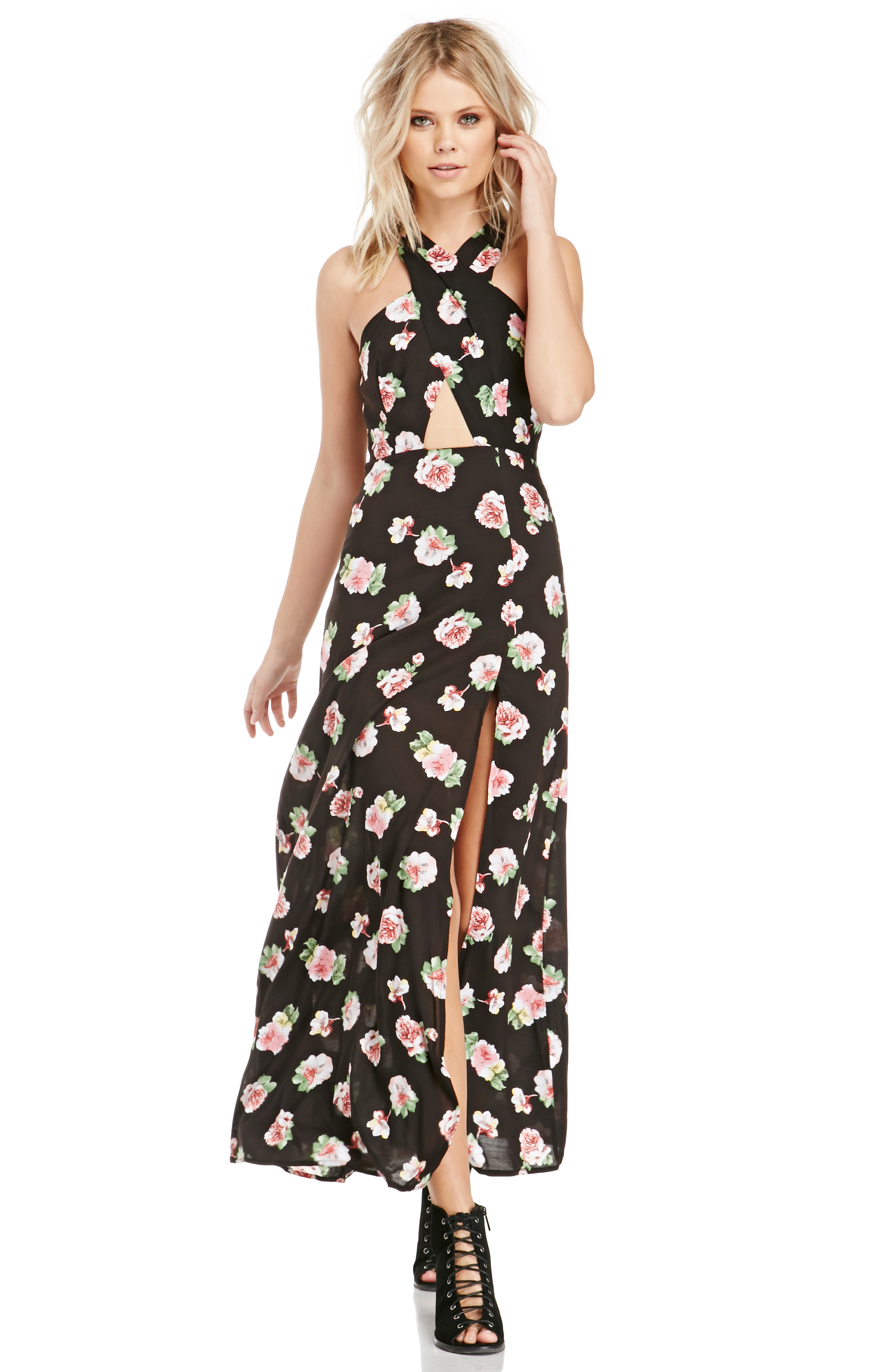 Dailylook: dailylook floral print maxi dress in black m