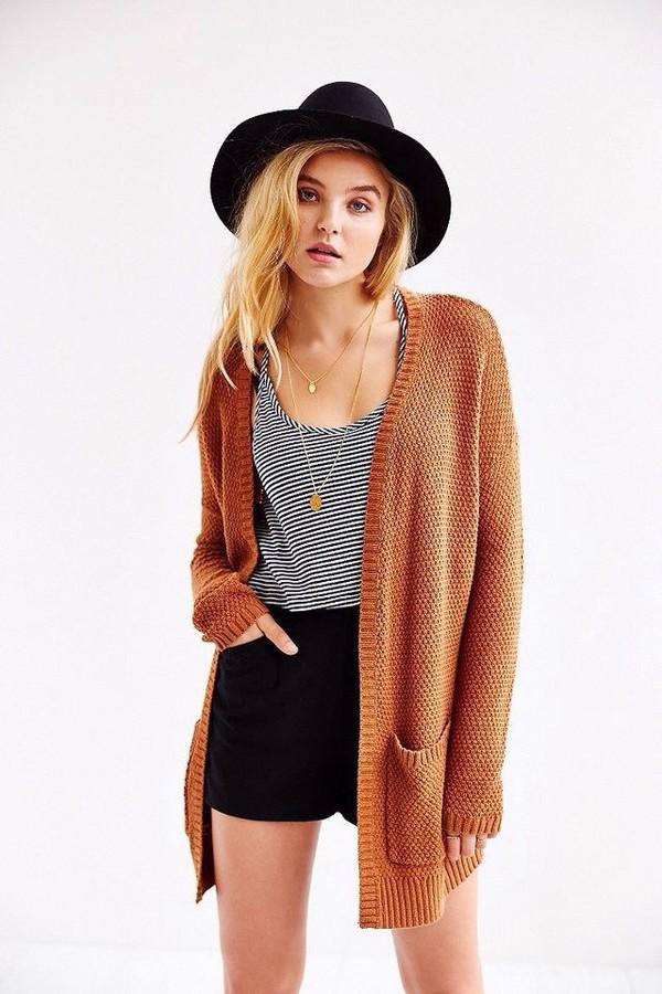 Cardigan Orange Hat Grunge Hipster Tumblr Outfit Wheretoget