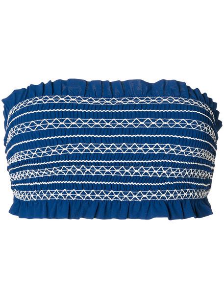 Tory Burch bikini bikini top bandeau bikini women spandex blue swimwear