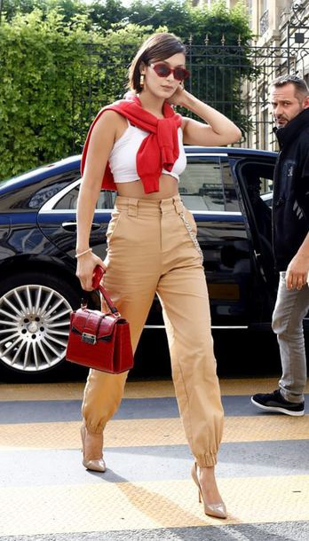 sweater red pants crop tops top bella hadid model off-duty streetstyle sunglasses