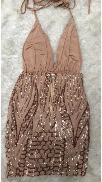 dress gold sequins dress