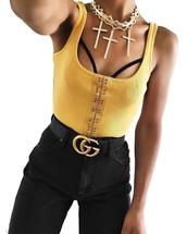 blouse,yellow,shirt,clothes,pants,black,necklace,bralette,belt