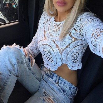 top tank top crochet crop top crop tops white crop tops crop high waisted jeans white top white shirt cute top style fashiin celebrity crochet top a fashion love affair see through t-shirt spring spring outfits fashion