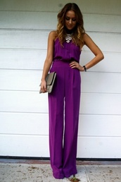 pants,clothes,jumpsuit,purple jumpsuit,purple,putple