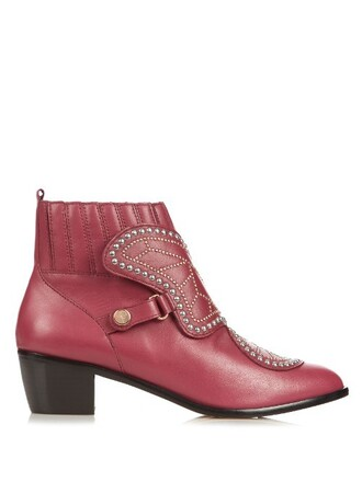 leather ankle boots studded butterfly boots ankle boots leather burgundy shoes
