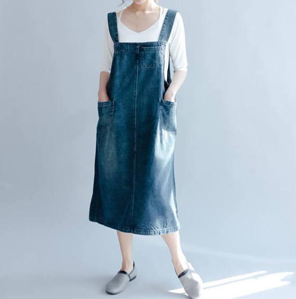 dress blue denim vest skirt