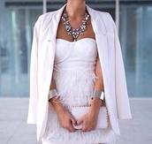 dress,white dress,white,jewels,blouse,jacket,blazer,diamonds,bag,style,tan,feathers,white feathers,fringes,bandeau,bustier,prom,party dress,short,summer dress,bodycon,coat,necklace,white blazer,silver,jewelry,fluffy,bracelets,silver bracelet,statement necklace,big necklace,boyfriend blazer,chic dress,clutch,thing,bling,beautiful,casual,cocktail party,white party dress,georgous,pants,white prom feather cute short dress,princess,feather dress,cocktail dress