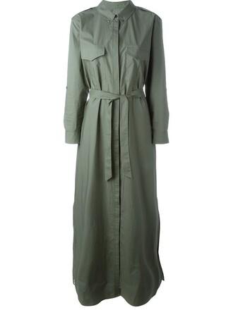 dress shirt dress long green