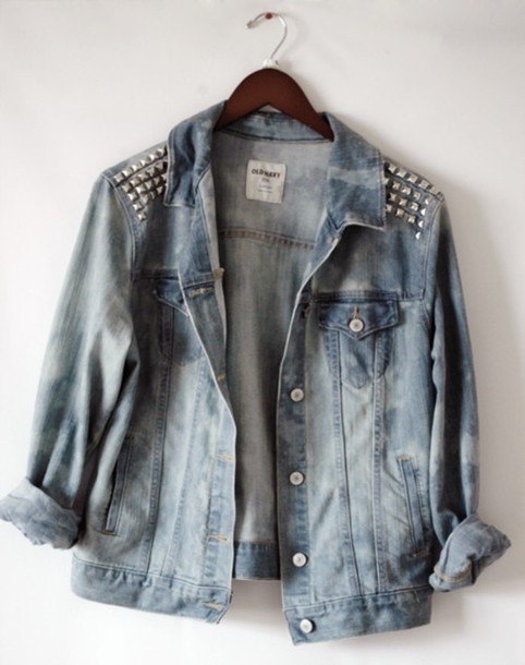 Jacket: jeans denim jacket studs jacket with studded denim