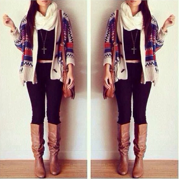 jacket shoes sweater winter sweater cardigan tribal cardigan jumper christmas sweater christmas scarf knitted cardigan knitted scarf leggings black cream white white scarf black t-shirt black crop top crop tops boots brown leather boots leather gold chain necklace cross necklace bag brown bag leather bag cream cardigan red blue jeans denim black jeans girly