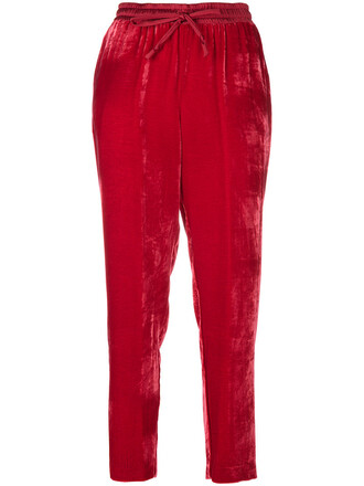 pants track pants women silk red