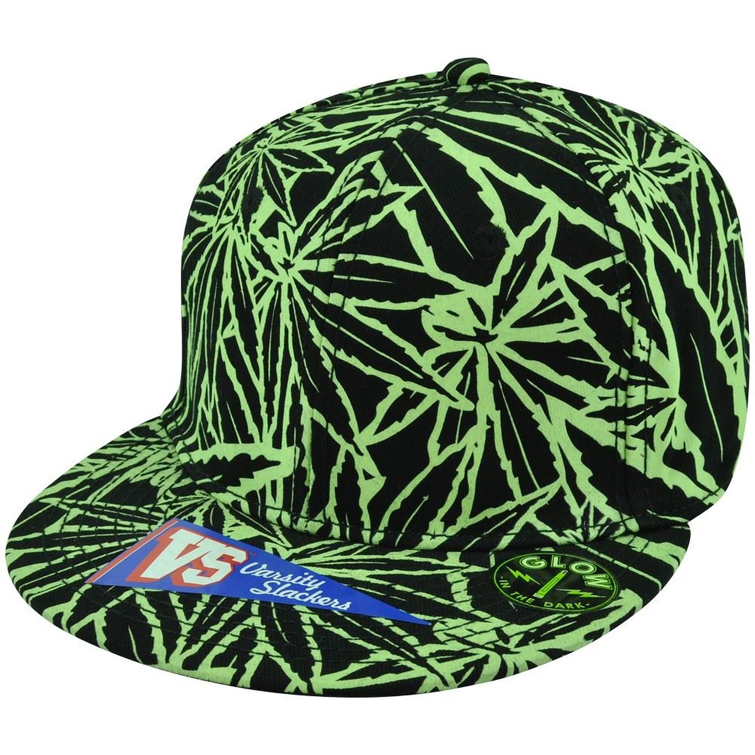 Varsity slackers marijuana one size flexfit black green glow in the dark hat cap at amazon men's clothing store: