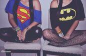 superman,batman,blue t-shirt,black t-shirt,collants,tights,pantyhose,underwear,shirt,t-shirt,pants,tank top,summer,blouse,batman shirt,superman t-shirt,halloween,crop tops,batman tshirt shirt,superheroes,sweater,bff,off the shoulder top,top,black batman shirt,black,blue,red,yellow
