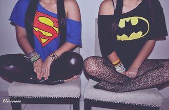 superman batman blue t-shirt black t-shirt collants tights pantyhose underwear shirt clothes t-shirt one shoulder off the shoulder superheroes vintage retro hipster black yellow blue red short sleeve symbol bat cute badman top logo halloween costume blue shirt faux leather leggings leather leggings jewels pants tank top summer blouse batman shirt superman t-shirt halloween crop tops girl batman tshirt shirt sweater bff off the shoulder top black batman shirt