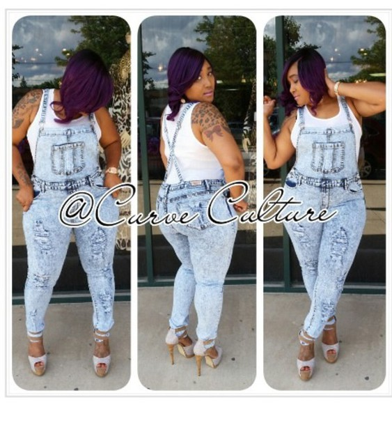 Jumpsuit Overalls Denim Plus Size Curvy Plus Size Pants Skinny
