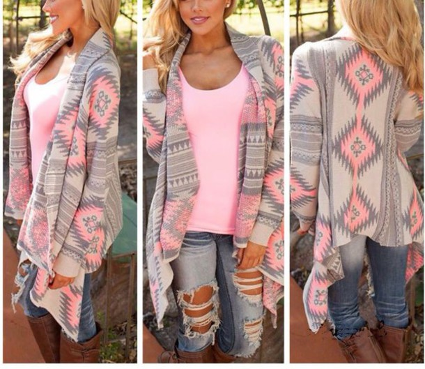 Cardigan: pink, aztec sweater, pink cardigan, grey - Wheretoget