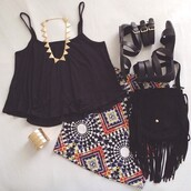 skirt,shoes,shirt,top,bag,jumpsuit,patterned skirt,tank top,jewels