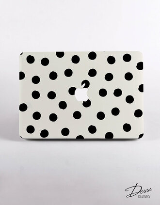 home accessory back to college college computer accessory polka dots apple technology black and white computer case office supplies desk