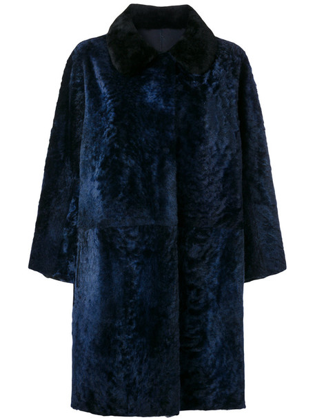 Sofie D'hoore coat fur women leather blue