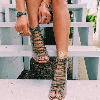 shoes light green army green strappy sandals sexy shoes party shoes trendy heels cut-out green wedges tan strappy heels