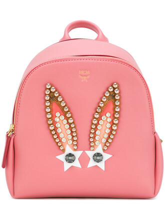 studded bunny women backpack studded backpack leather purple pink bag