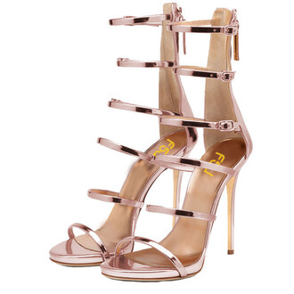 shoes pink metallic sandals fashion heels high heels hot fsjshoes
