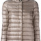 Herno - high neck down jacket - women - feather down/polyamide/polyester/viscose - 38, brown, feather down/polyamide/polyester/viscose