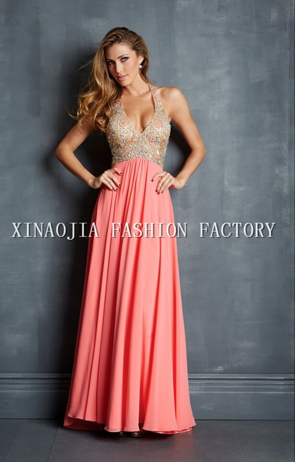 halter neck dress pink dress evening dress prom dress 2014 long prom dresses