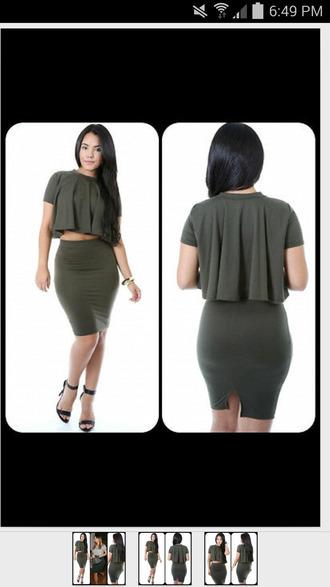 t-shirt kim kardashian skirt set ruffle top skirt printed bodycon