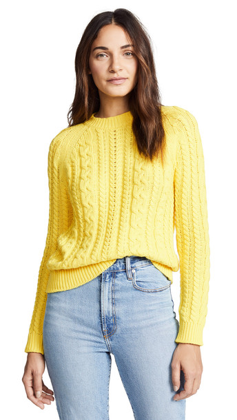 Bop Basics Boxy Cable Knit Sweater in yellow