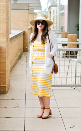currentlycoveting blogger dress hat sunglasses make-up shoes bag summer outfits yellow dress sandals cardigan summer dress