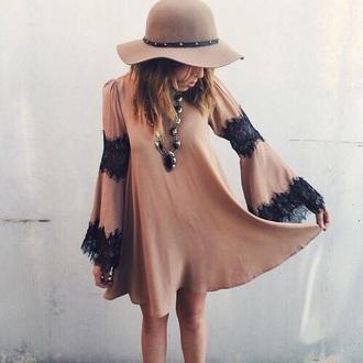 dress boho dress nude nude dress lace black dress boho boho chic bohemian short dress lace dress pretty tan style hat