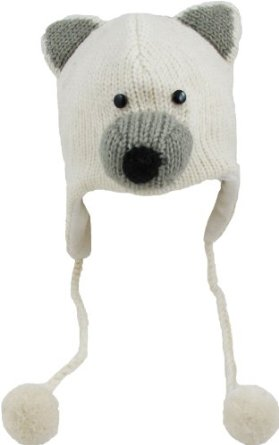 Amazon.com: delux new polar bear white wool pilot animal cap/hat with ear flaps and poms: clothing