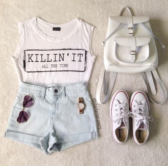 tank top shirt summer outfit cute white backpack crop tops white converse heart sunglasses bag white backpack
