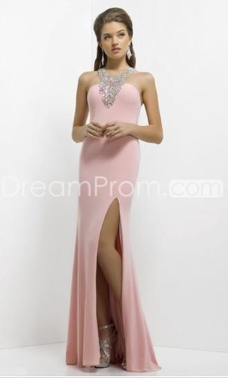 dress prom dress pink dress girl dream prom ❤️ baby pink debs dress diamonds pink prom dress pink pastel dresses prom long prom dress bodycon pink leg slit
