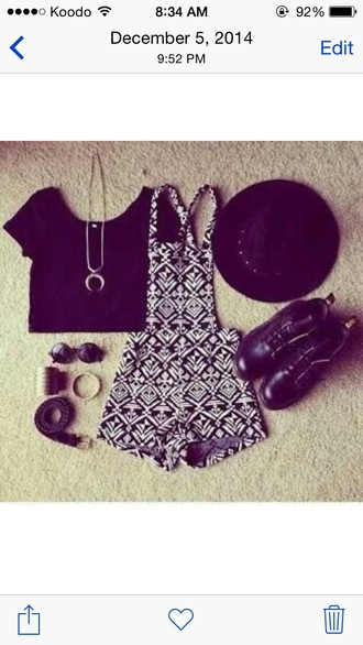 top black crop top black and white overalls boots hat