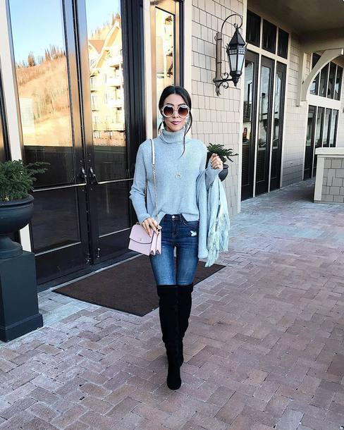 sweater tumblr blue sweater turtleneck turtleneck sweater bag pink bag denim jeans blue jeans boots black boots round sunglasses sunglasses