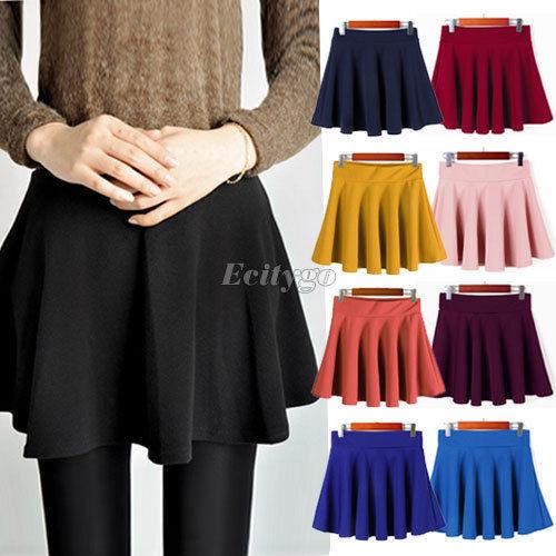 Fashion Womens Ladies Elastic Waist Pleated Flared Skater Mini Skirt