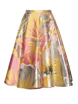 skirt jacquard floral pink