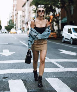 skirt tumblr mini skirt top black top camisole boots black boots biker boots jacket denim denim jacket sunglasses